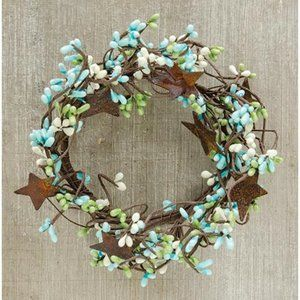 "Seabreeze Pip Berry With Stars 6"" Mini Wreath Ring"